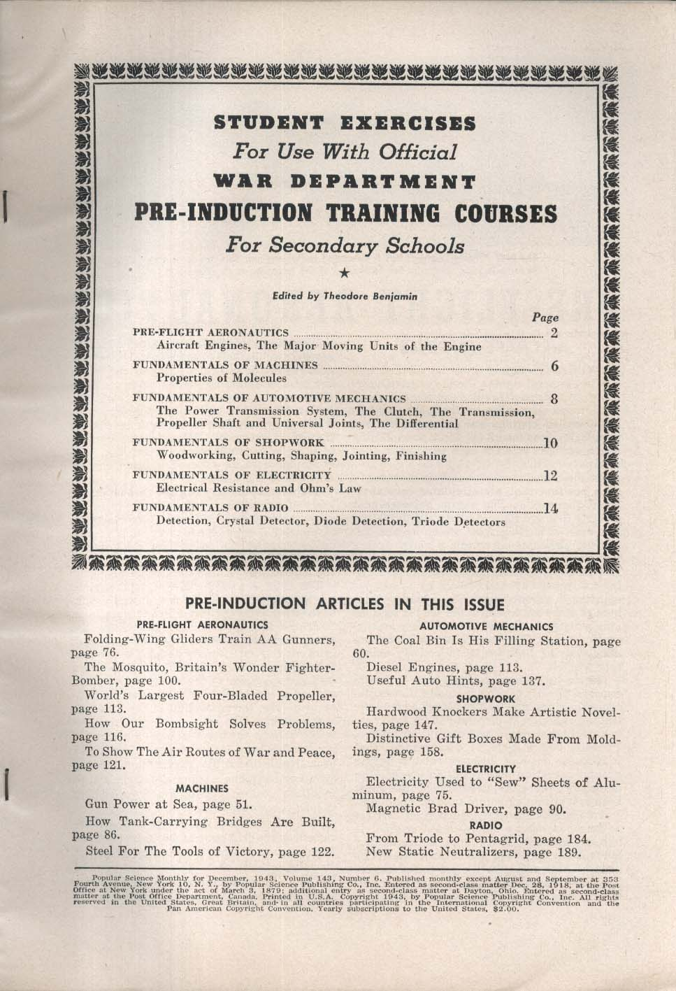 POPULAR SCIENCE Mosquito Bomber War Department Pre-Induction Training 12 1943
