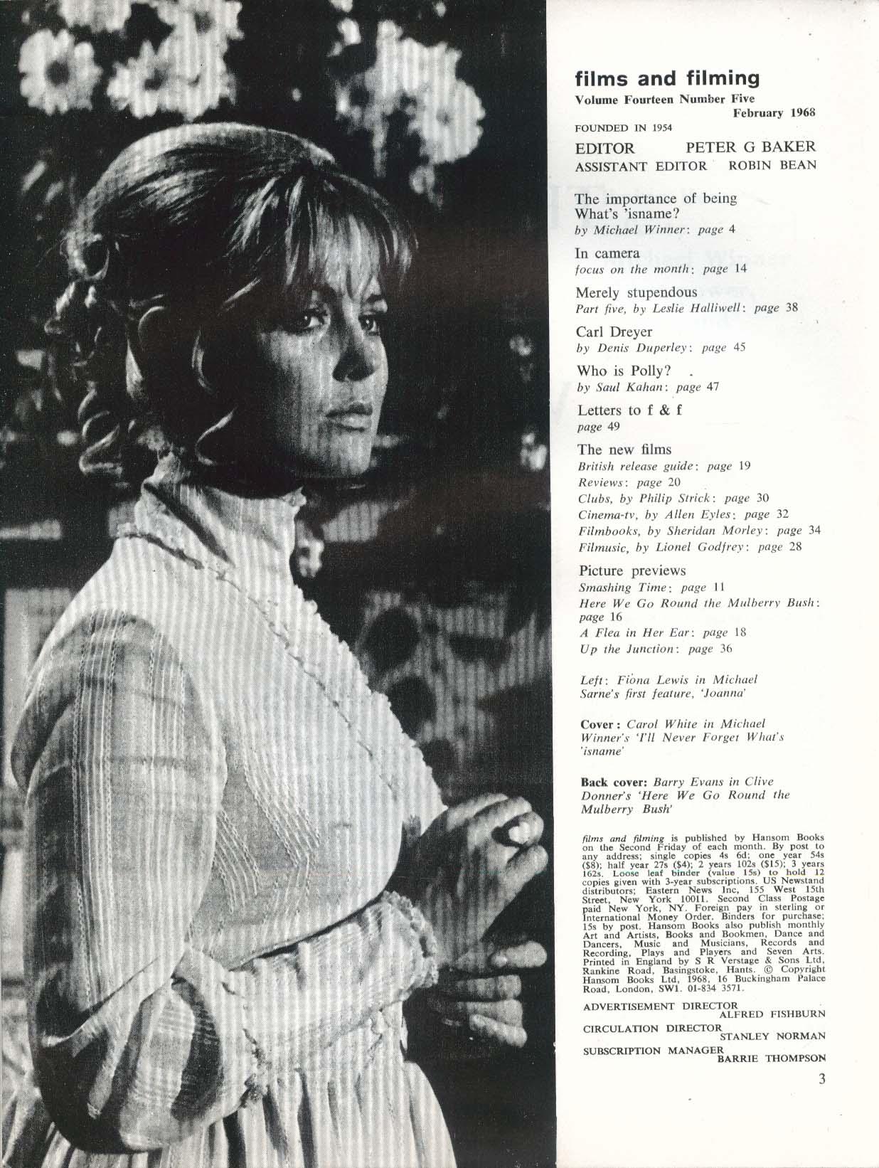 FILMS & FILMING Carol White Michael Winner Dennis Duperley Saul Kahan + 2 1968