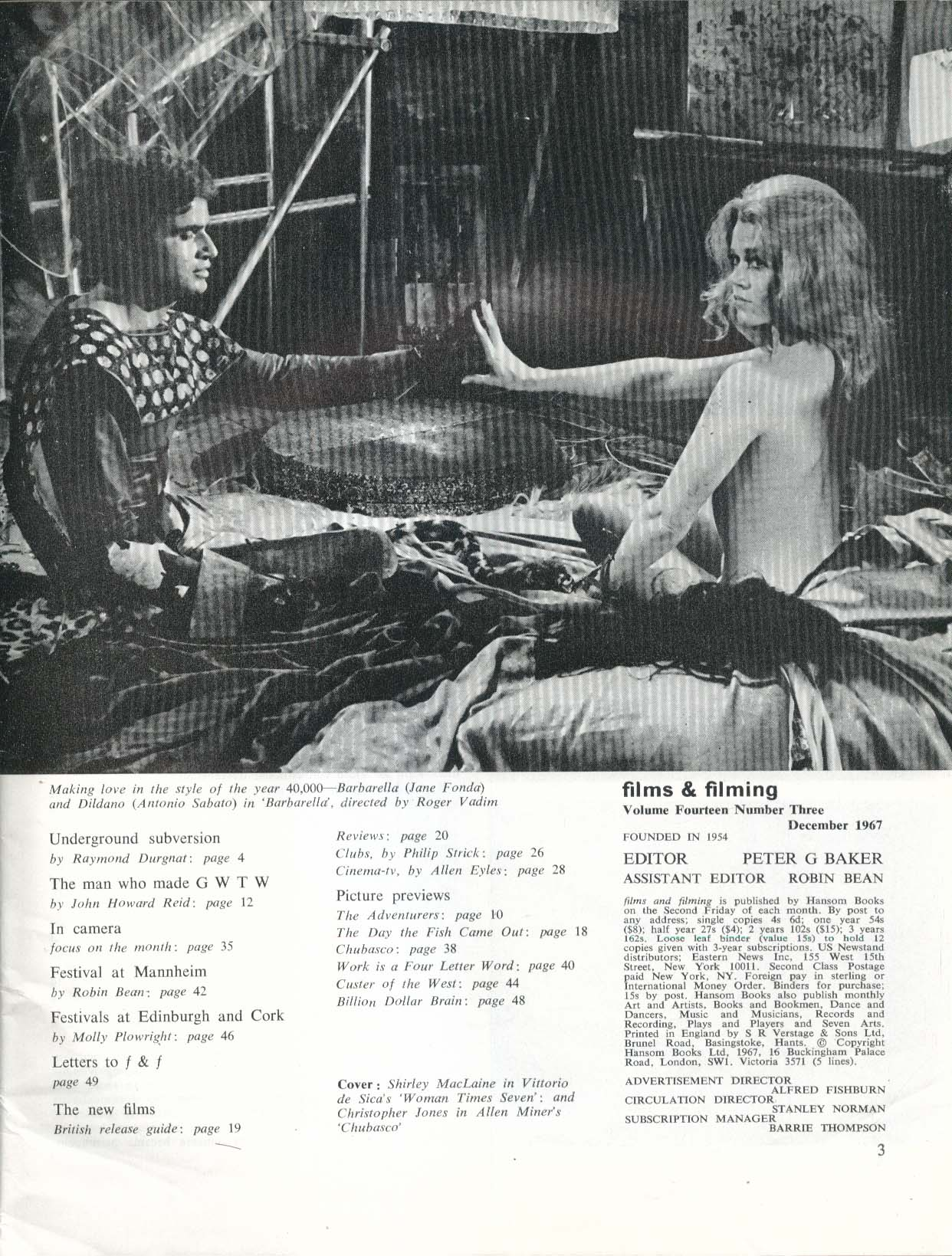 FILMS & FILMING Raymond Durgnat Molly Plowright Barbarella Jane Fonda 12 1967