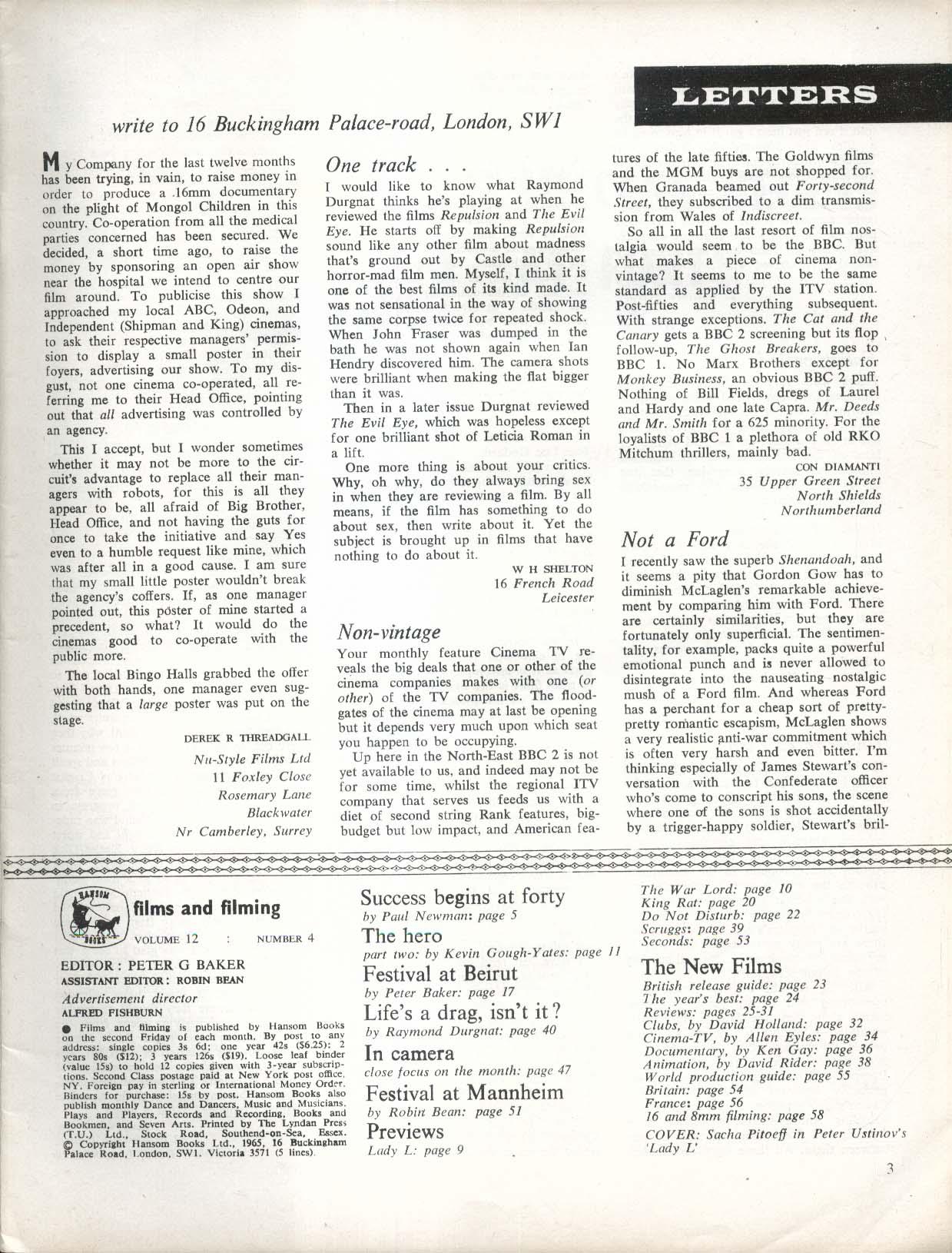 FILMS & FILMING Sacha Pitoeff Paul Newman 1 1966