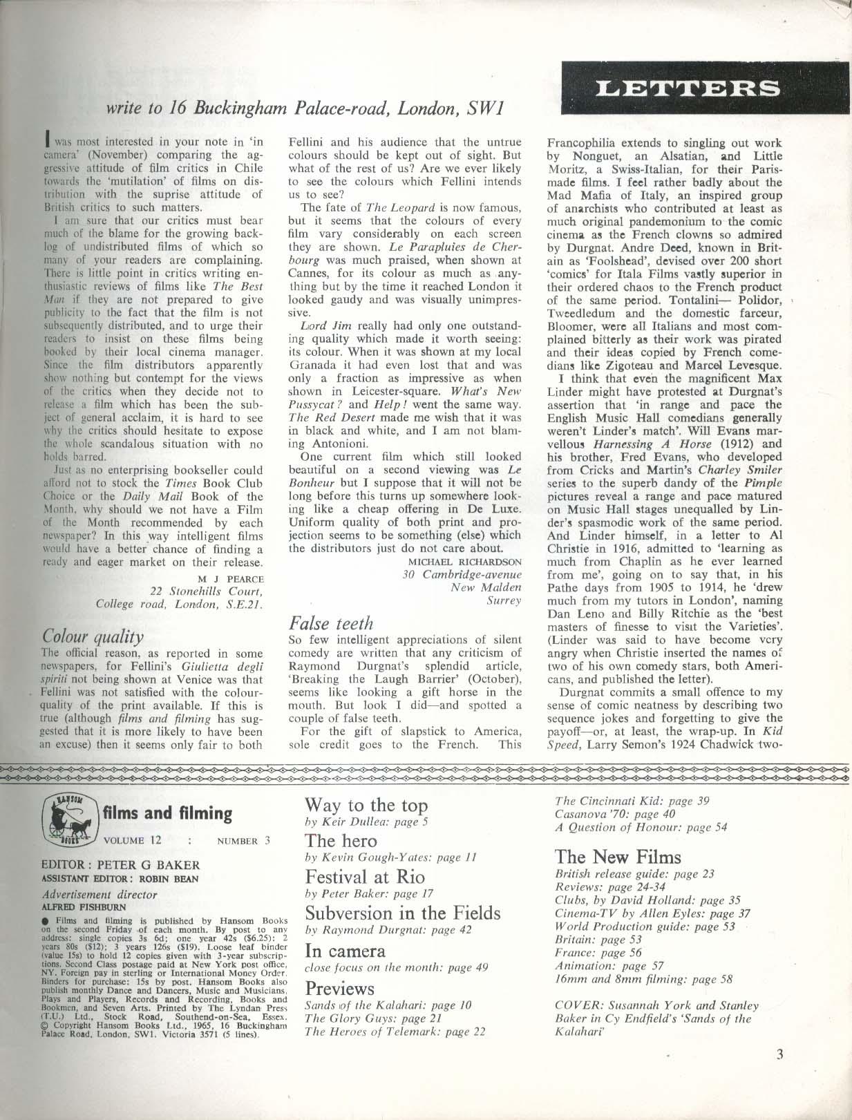 FILMS & FILMING Keir Dullea Kevin Gough-Yates Raymond Durgnat 12 1965