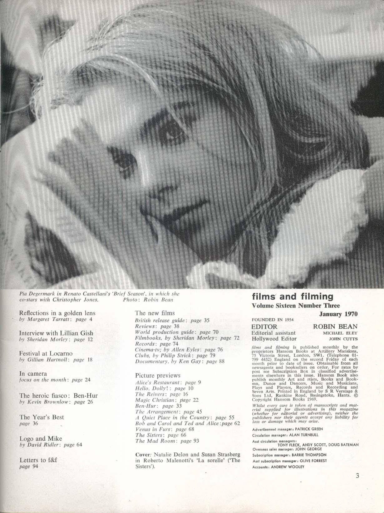 FILMS & FILMING Nathalie Delon Susan Strasberg Lillian Gish 1 1970