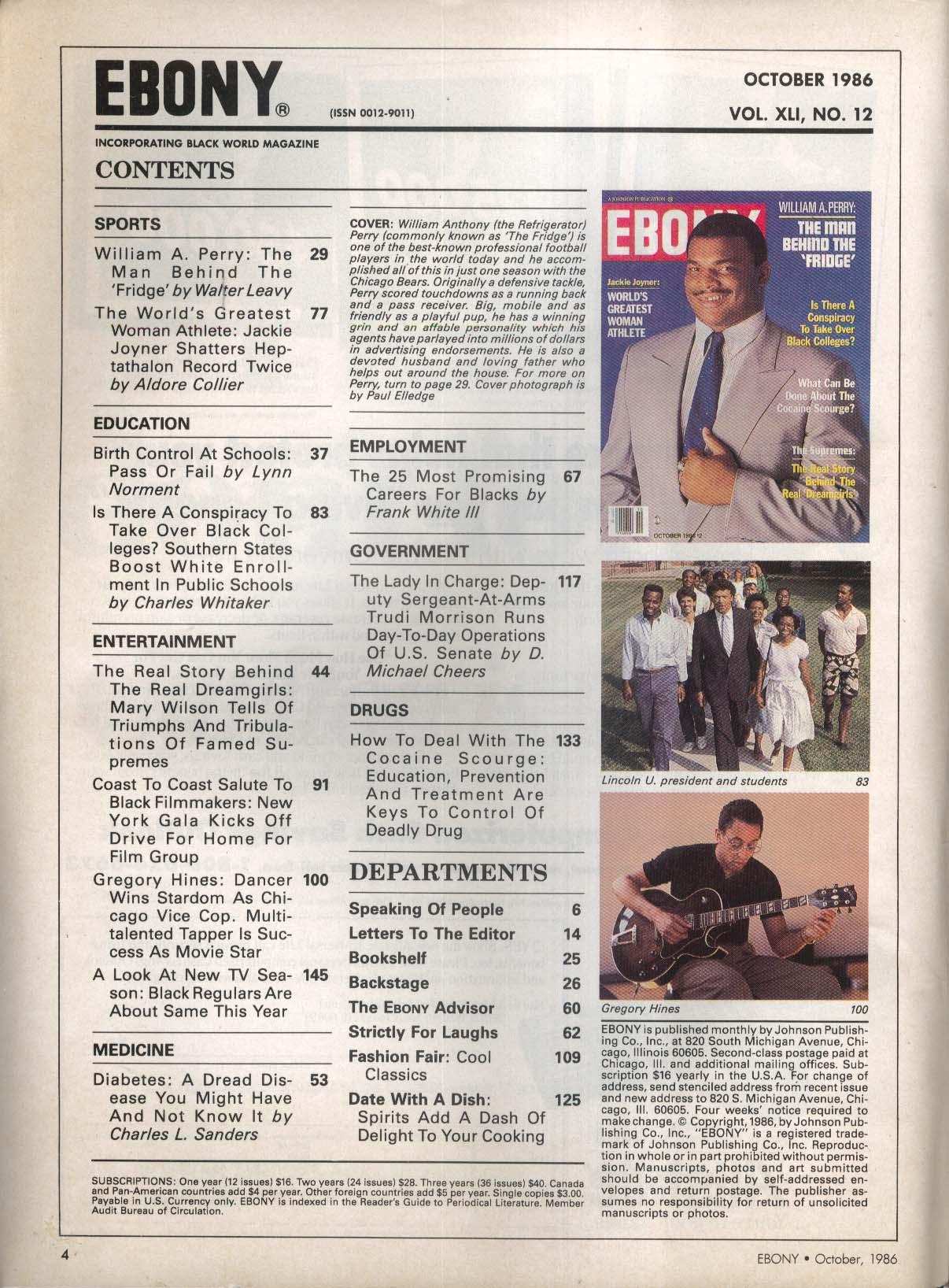 EBONY William A Perry Jackie Joyner Gregory Hines 10 1986