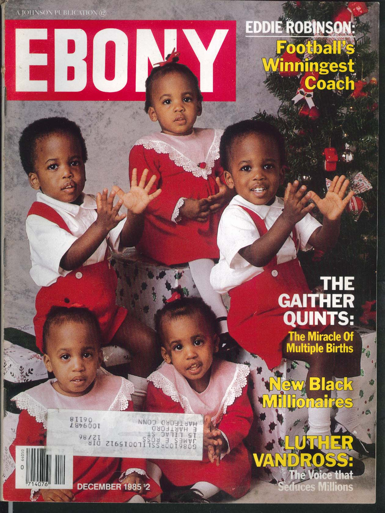 EBONY Gaither Quintuplets Luther Vandross Eddie Robinson 12 1985
