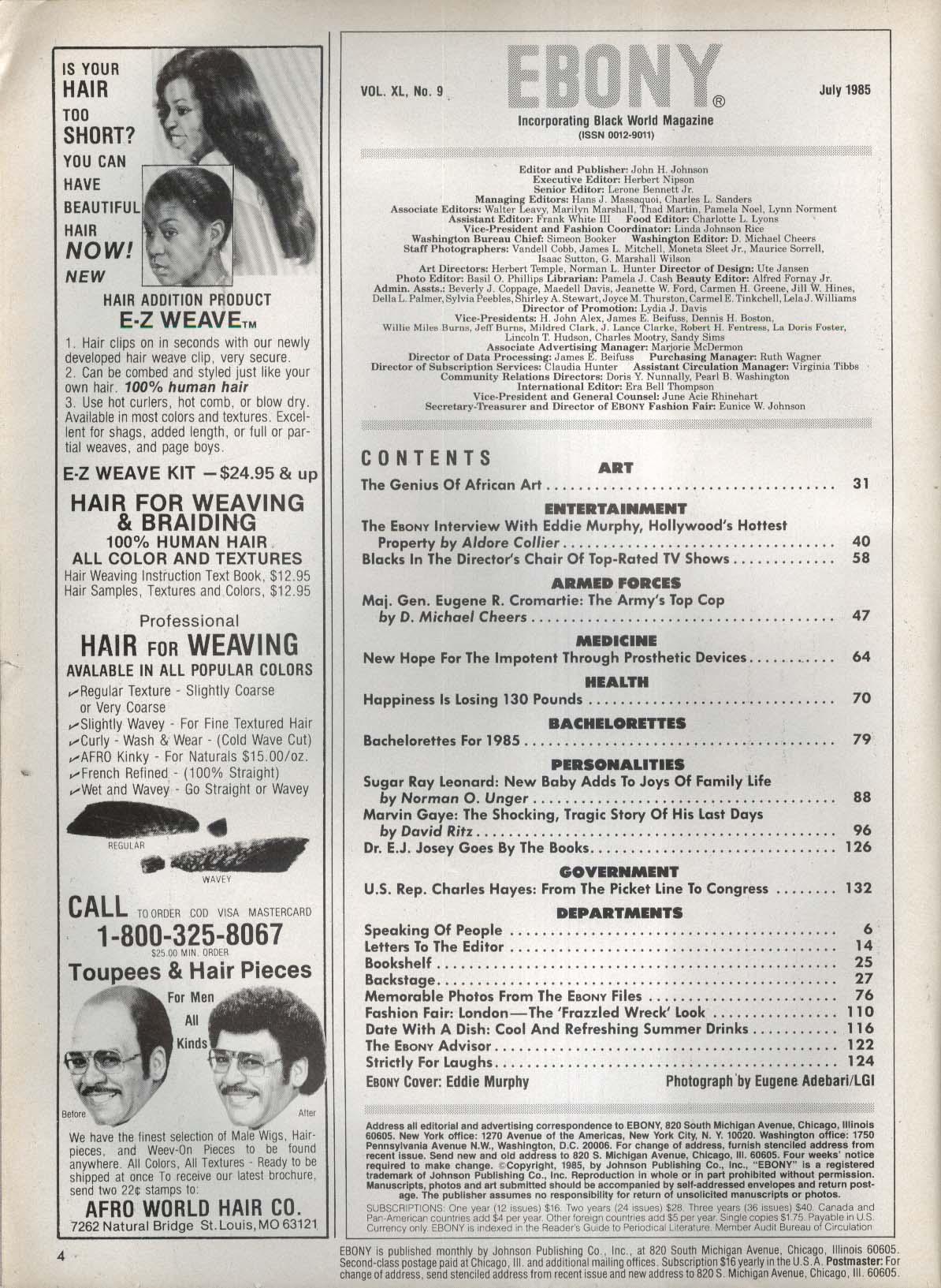 EBONY Eddie Murphy Marvin Gaye Sugar Ray Leonard 6 1985