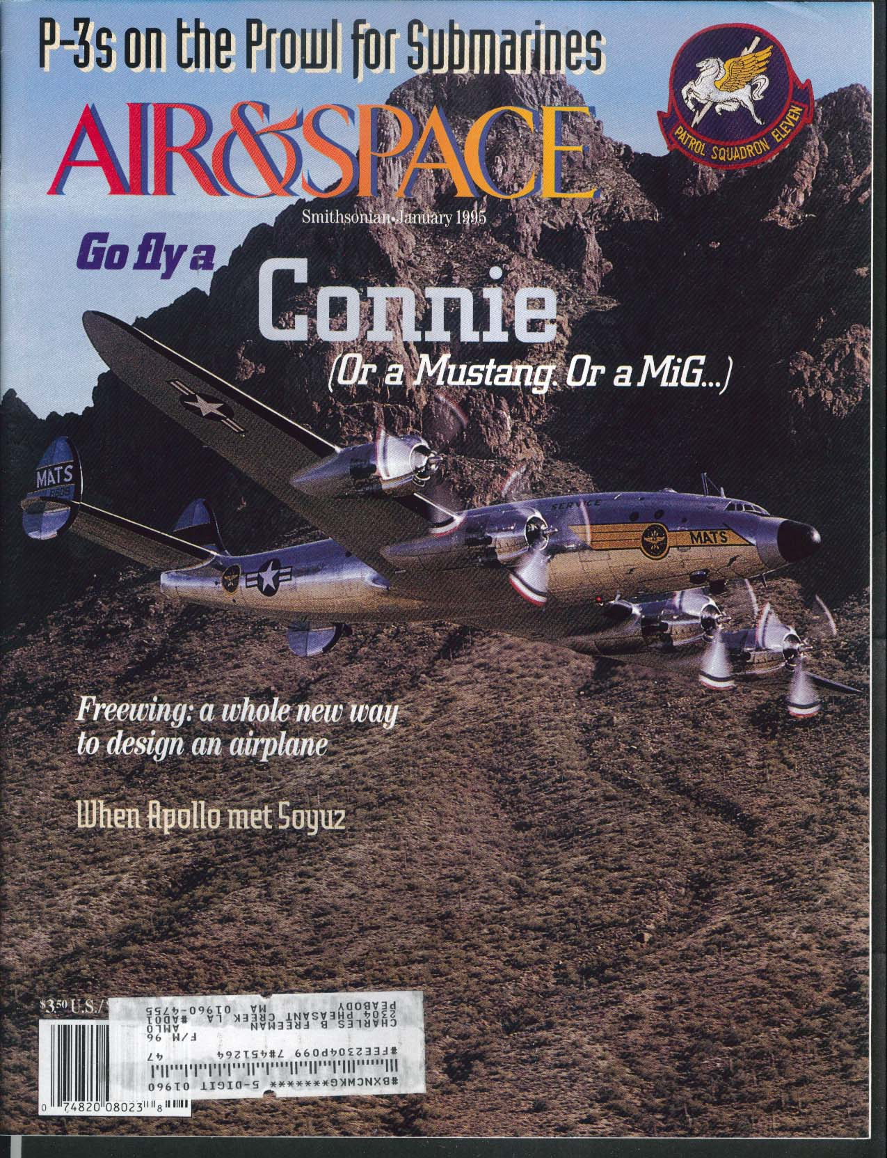 AIR & SPACE Smithsonian Constellation Mustang MiG Apollo Soyuz P-3 Spratt 1 1995