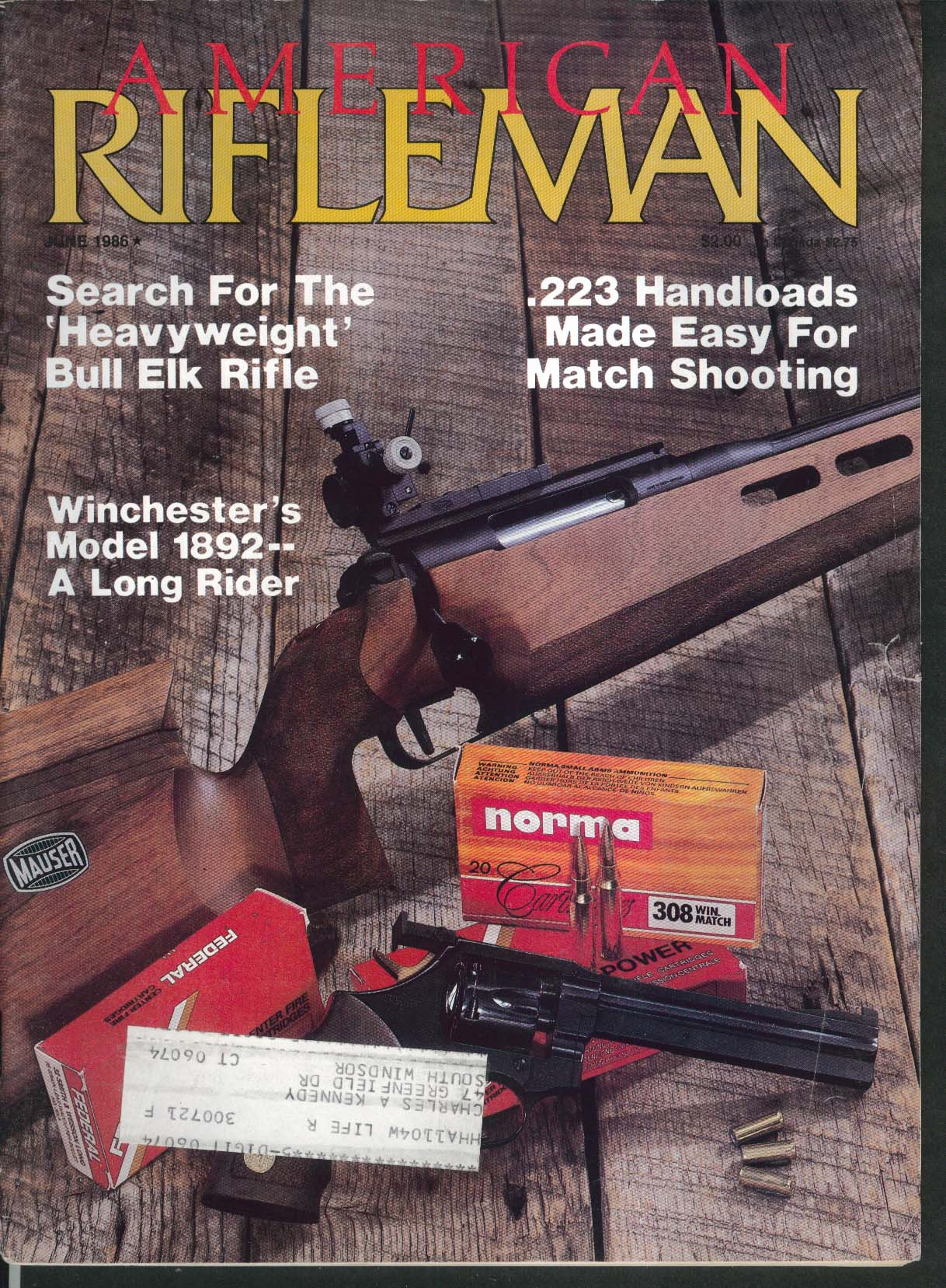 AMERICAN RIFLEMAN Bull Elk Rifle 223 Handloads Winchester 1892 6 1986