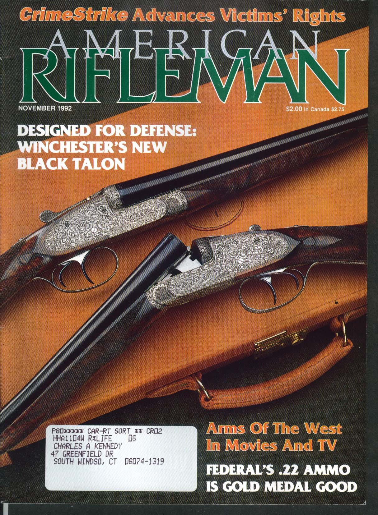 AMERICAN RIFLEMAN Winchester Black Talon Federal 22 223 Remington 11 1992