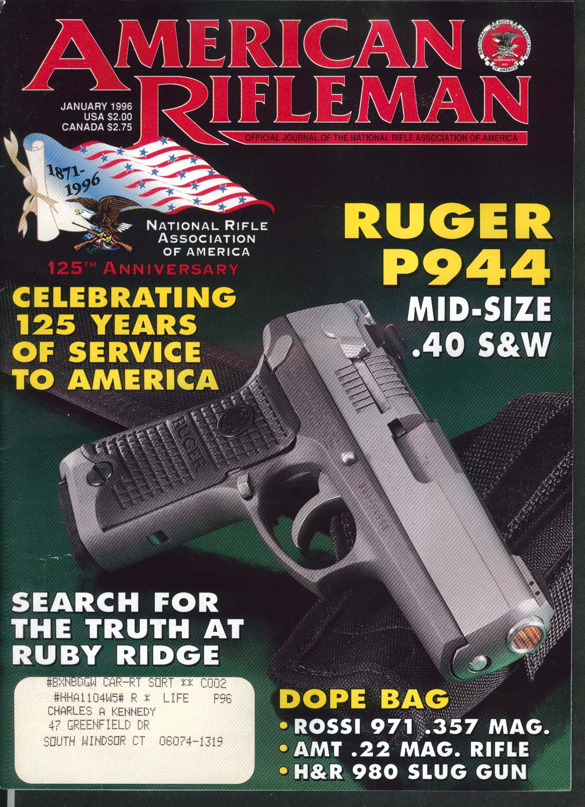 AMERICAN RIFLEMAN Ruger P944 Browning T-Bolt Rifle 1 1996