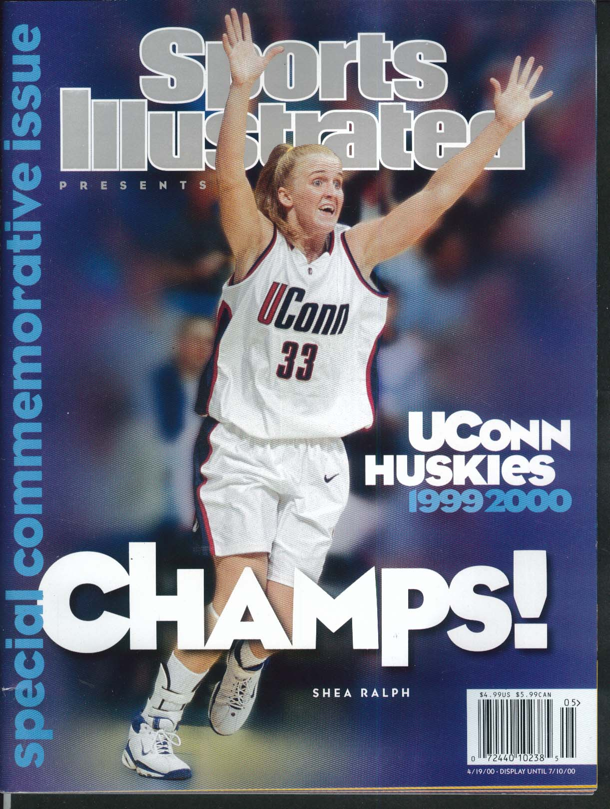 SPORTS ILLUSTRATED Uconn Huskies Shea Ralph Geno Auriemma 4/19 2000