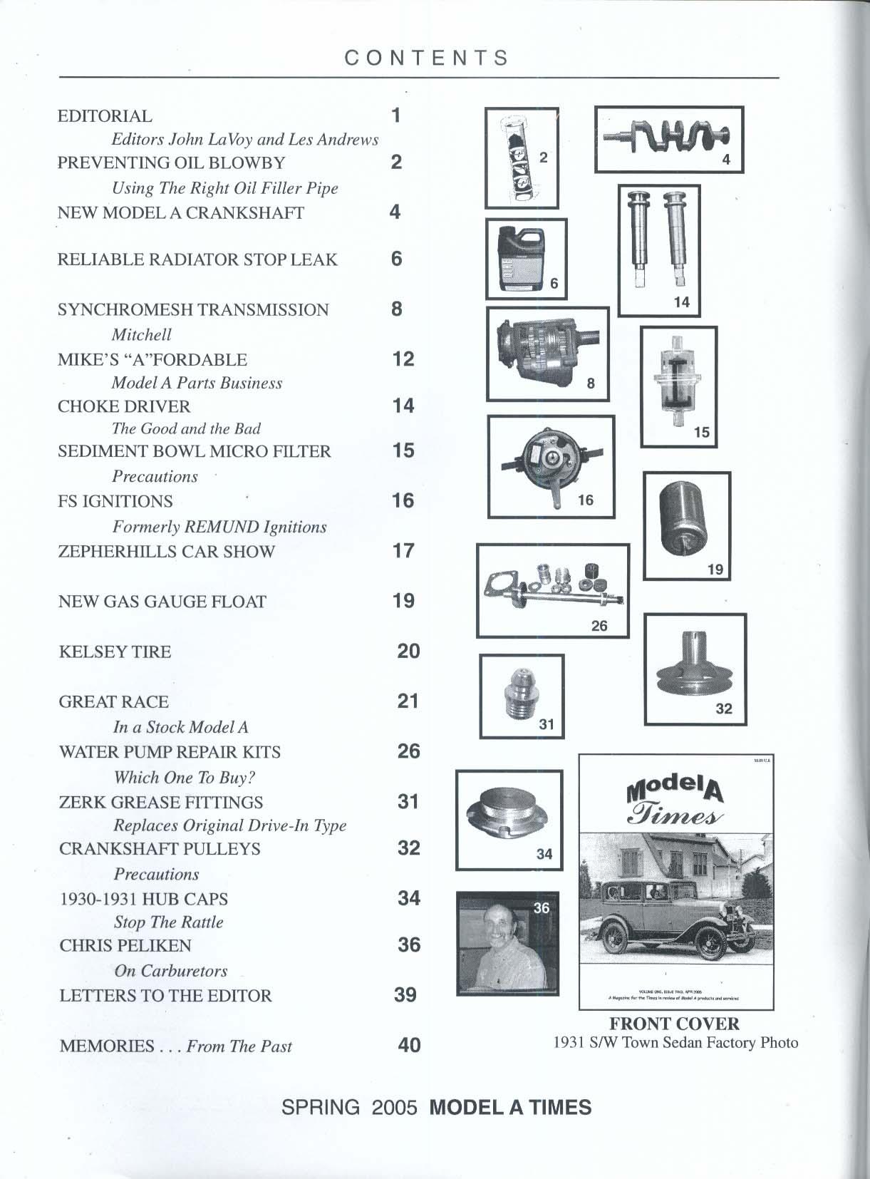 MODEL A TIMES V1 #2 Crankshaft Synchromesh Zerk Chris Peliken 4 2005