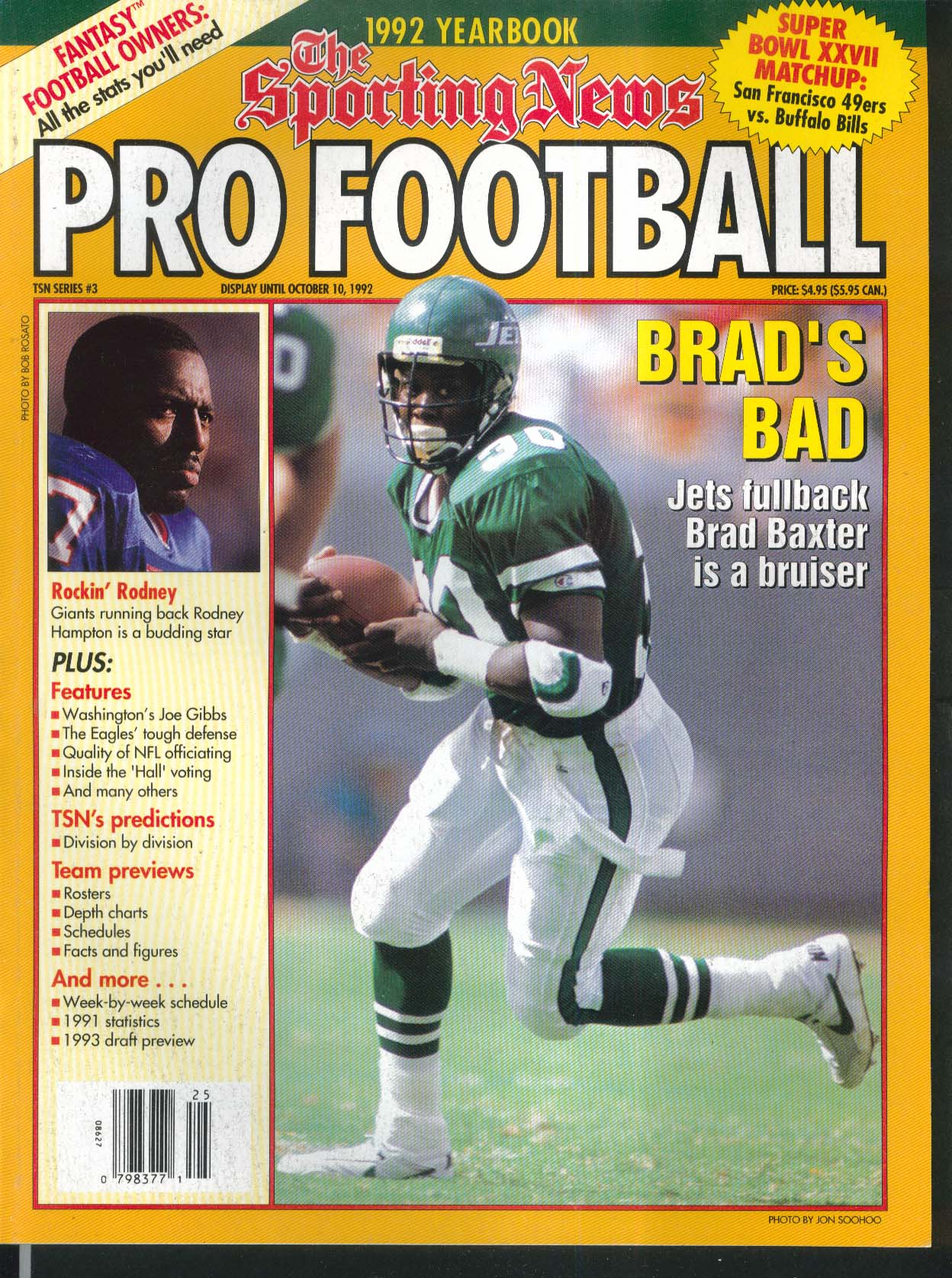 SPORTING NEWS PRO FOOTBALL 1992 Yearbook Brad Baxter Rodney Hampton Joe Gibbs ++