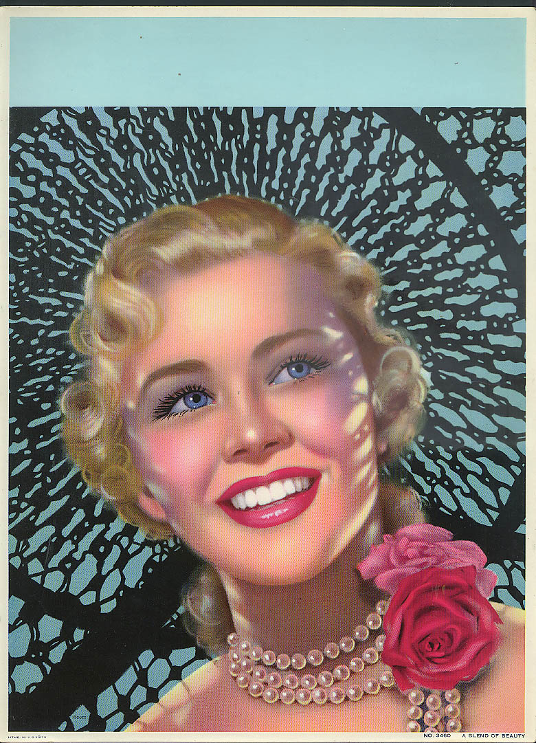 A Blend of Beauty pretty girl blonde red lips rose pearls calendar sample 1950s