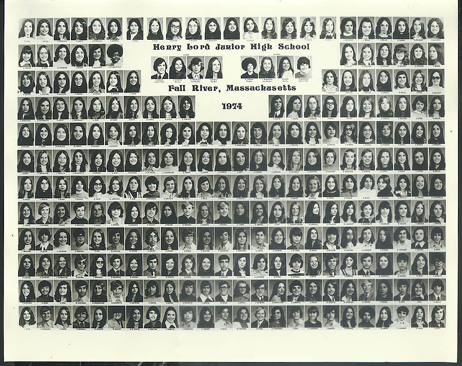 Henry Lord Junior High School Fall River MA Class Picture 1974