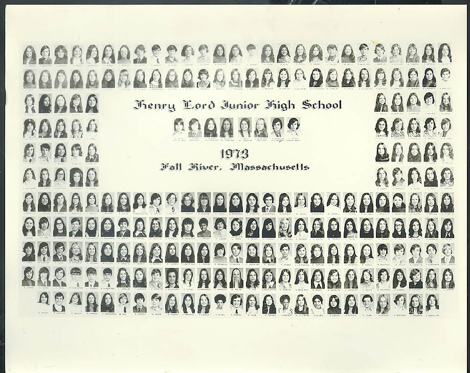 Henry Lord Junior High School Fall River MA Class Picture 1973