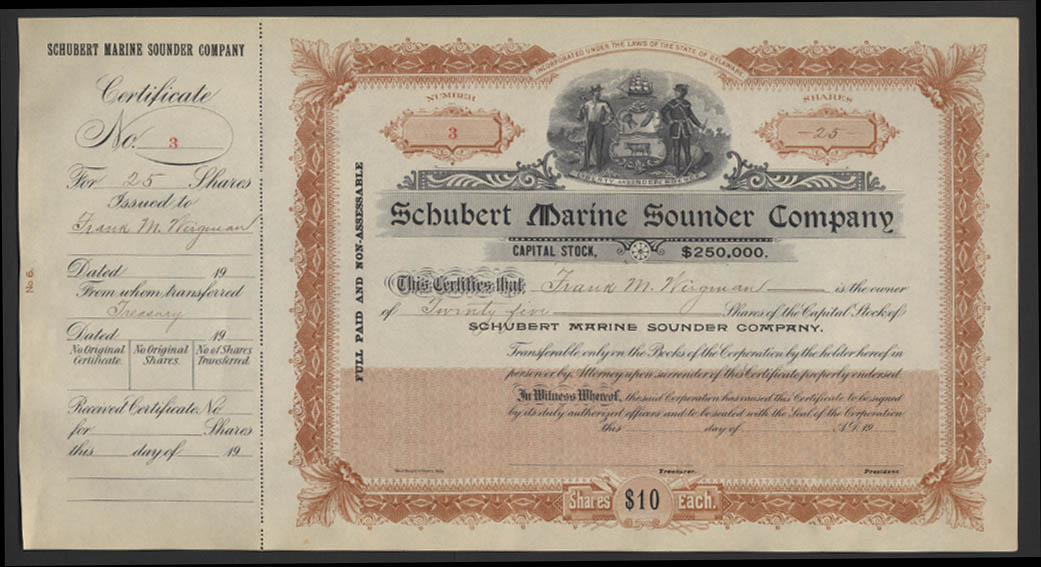 Schubert Marine Sounder Company Stock Certificate #3 for 25 shares ca 1915