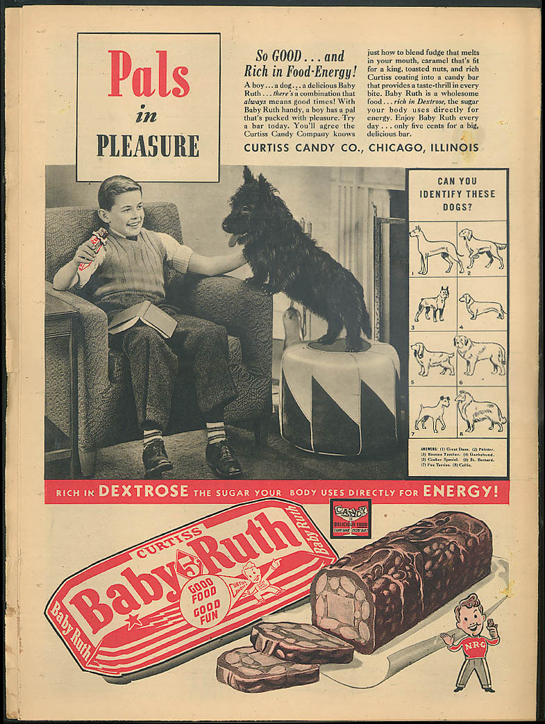 YOUNG AMERICA Democracy Italy & Germany? Track & field Baby Ruth ad 2/16 1940