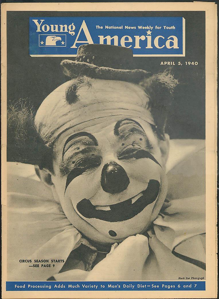 YOUNG AMERICA 4/5 1940 Circus season; baseball rookies; food processing
