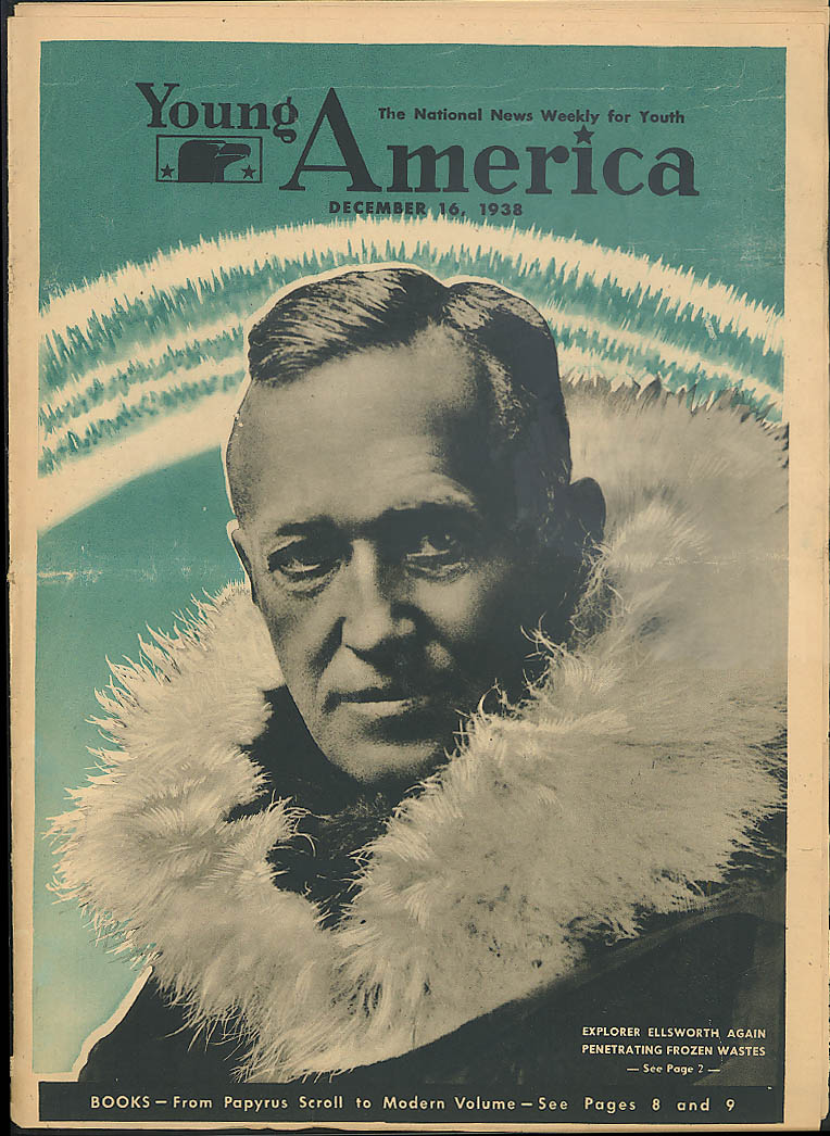 YOUNG AMERICA Ellsworth in Antarctic; stocking trout; Japan Empire 12/16 1938