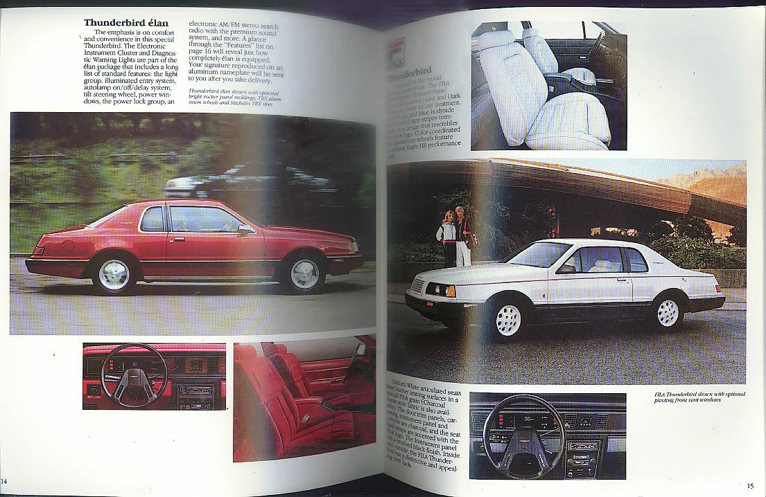 1984 Thunderbird sales catalog Turbo Coupe Elan FILA