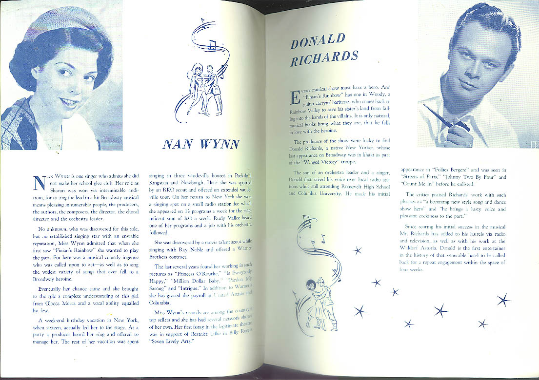 Finian's Rainbow musical theatre program Joe Yule Nan Wynn ca 1949