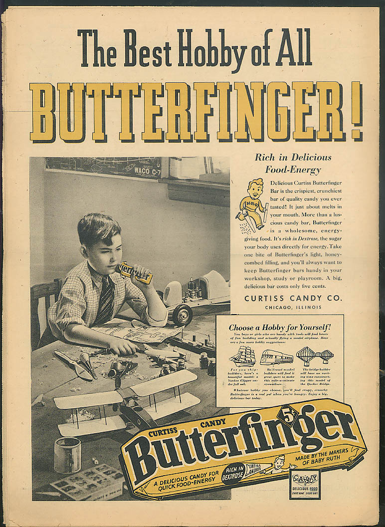 YOUNG AMERICA Logging plastics Hungary bowling Butterfinger ad 3/15 1940