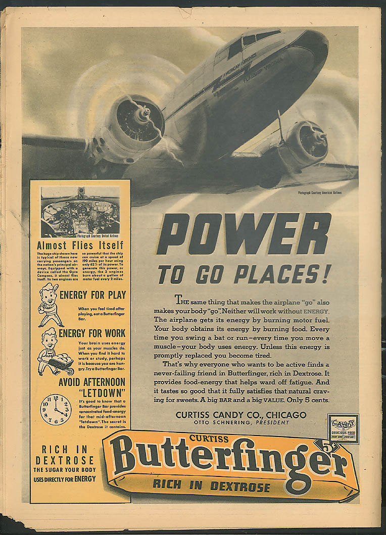 YOUNG AMERICA Microscopes New Pope DC-3 in Butterfinger ad 3/3 1939