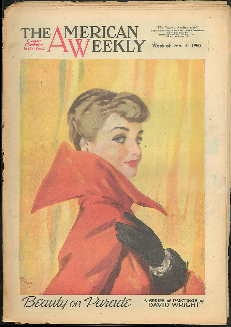 AMERICAN WEEKLY 12/10 1950 David Wright glamour; Lon Chaney; Dorothy Power