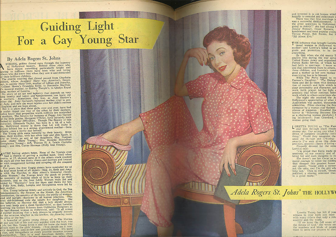 AMERICAN WEEKLY 9/30 1951 David Wright glamour Loretta Young Jacqueline Auriol