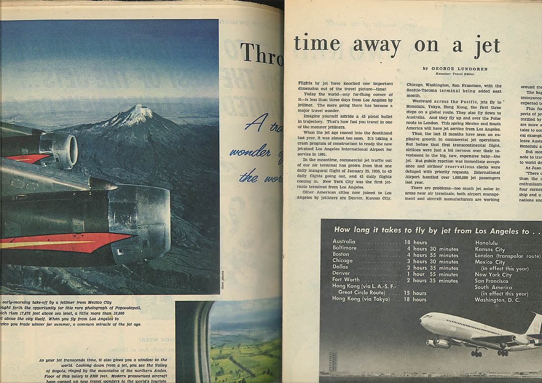 LA Examiner PICTORIAL LIVING World Travcel Issue Pan Am Mexicana ads