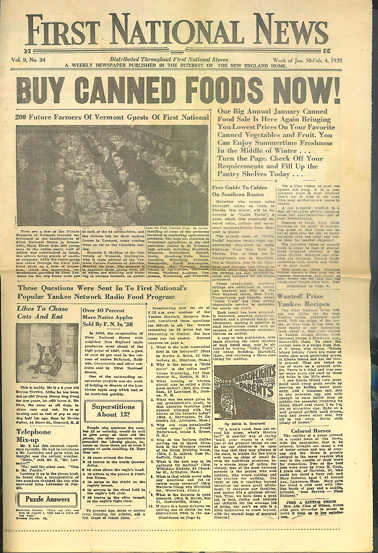FIRST NATIONAL STORES NEWS 1/30 1939 Buy Canned Goods Now!