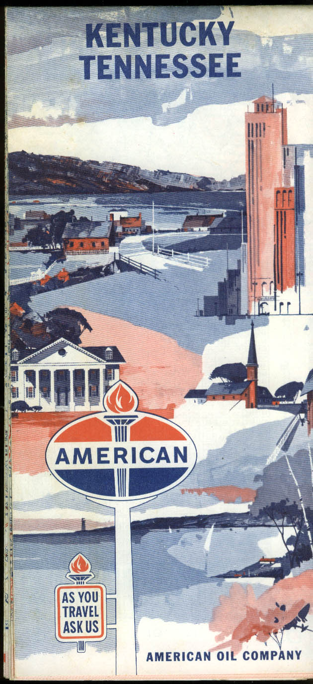 American Oil Gasoline Road Map Kentucky Tennessee 1955