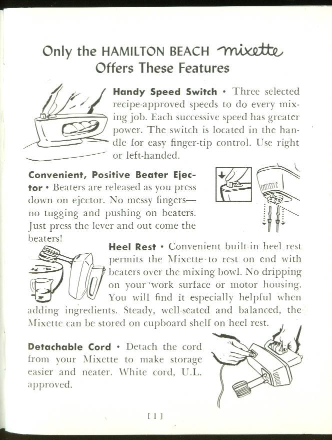 Hamilton Beach Deluxe Mixette Model 79 food mixer instructions & recipes 1950s