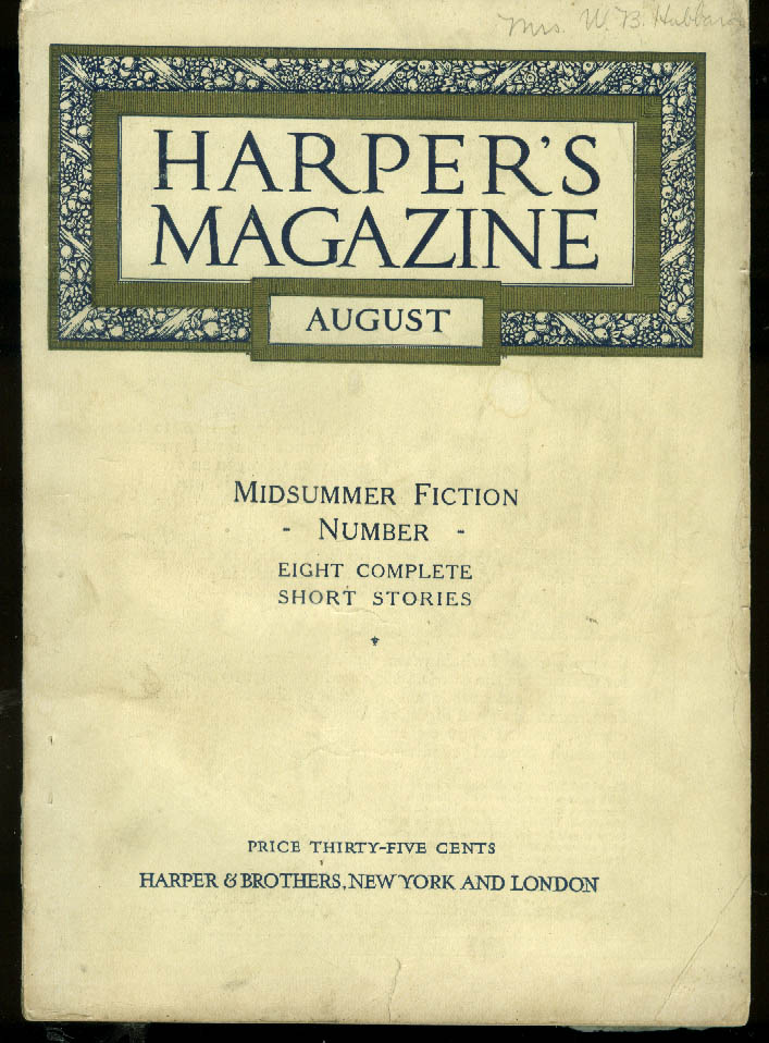 Image for HARPER'S 8 1916: Mark Twain N C Wyeth W D Howells; Business va Alcohol