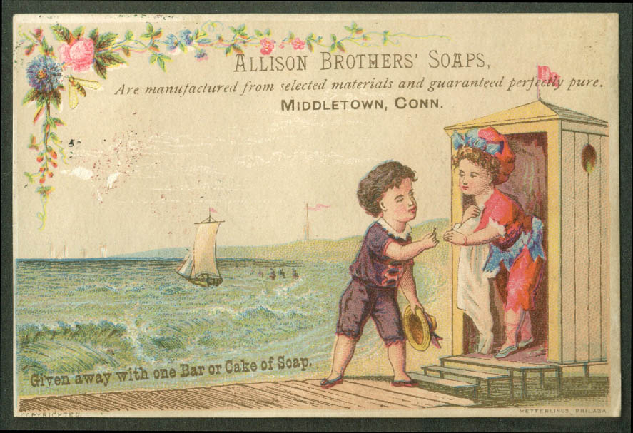 Allison Brothers Soap Middletown CT trade card 1880s girl beach changing hut