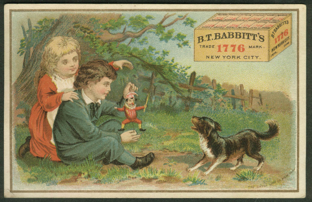 B T Babbitt's Medicinal Yeast trade card 1880s kids with jumping-jack toy & dog