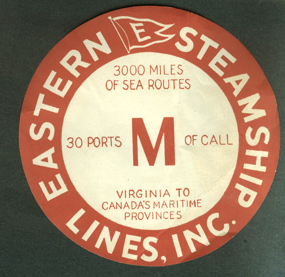 Eastern Steamship Lines baggage sticker Virginia to Maritimes ca 1930s