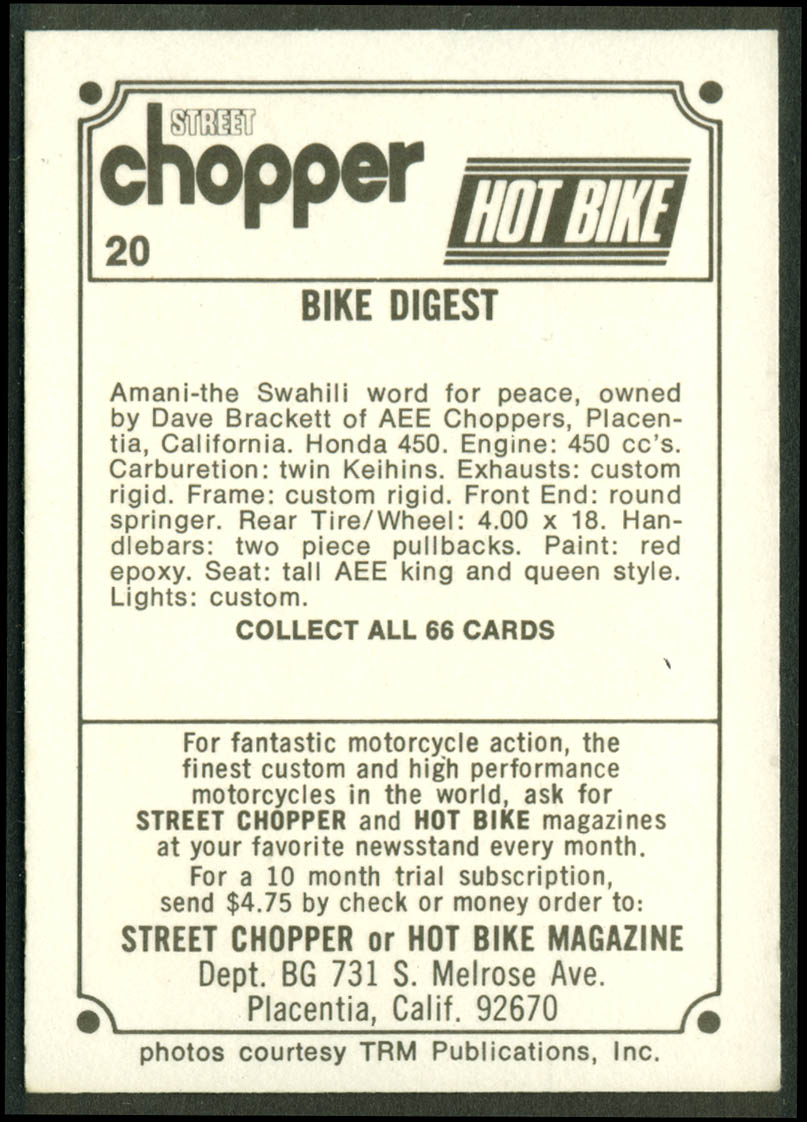 Dave Brackett Honda 450 Amani chopper motorcycle trading card #20