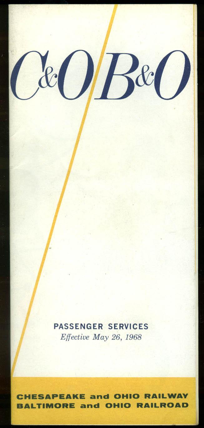 Chesapeake & Ohio / Baltimore & Ohio Passsenger Timetable 5/26 1968