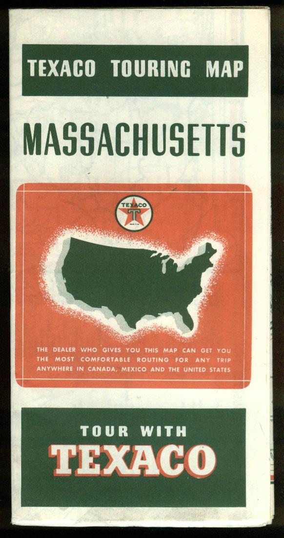 Texaco Gasoline Touring Map Massachusetts 1938
