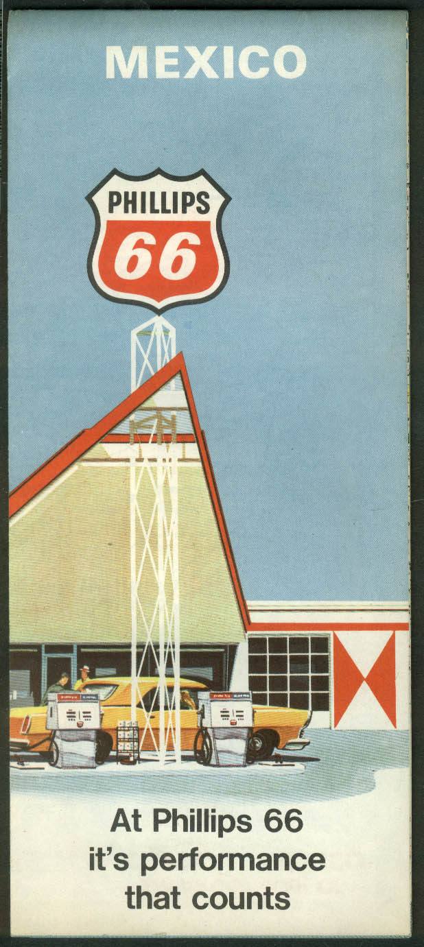Phillips 66 Gasoline Road Map Mexico 1968