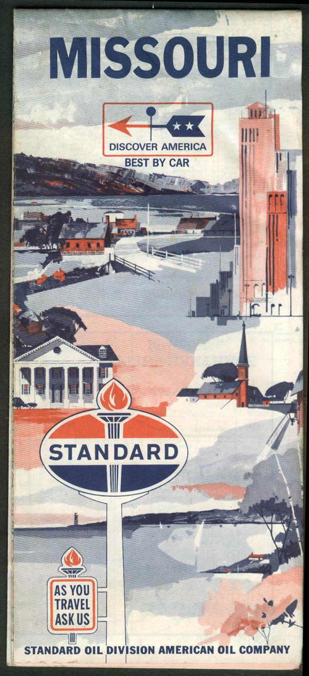 Standard Oil Gasoline Road Map Missouri 1966