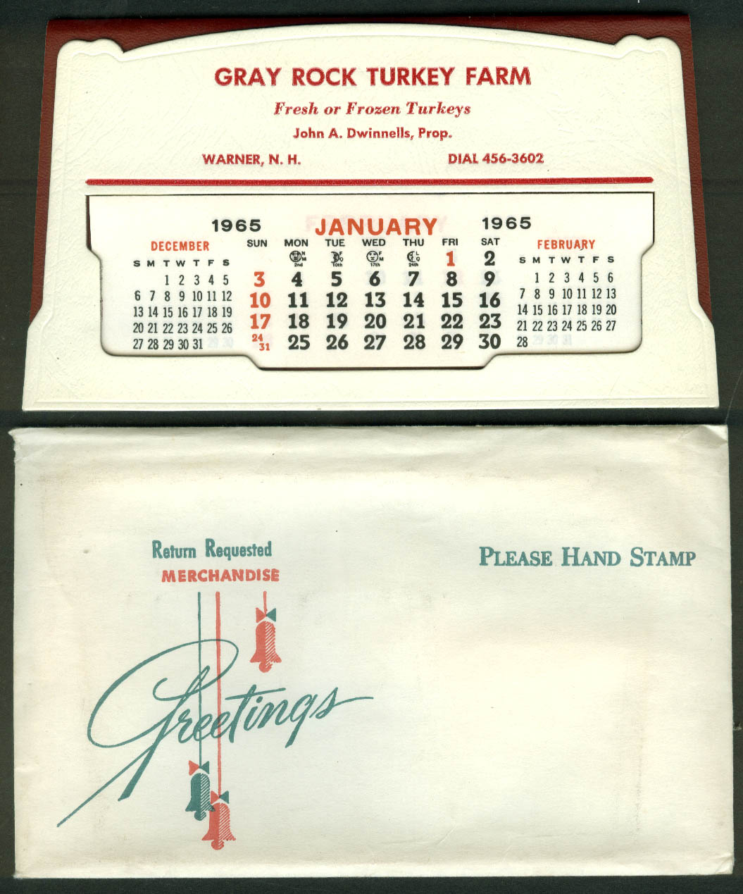Gray Rock Turkey Farm Warner NH advertising calendar 1965 in envelope