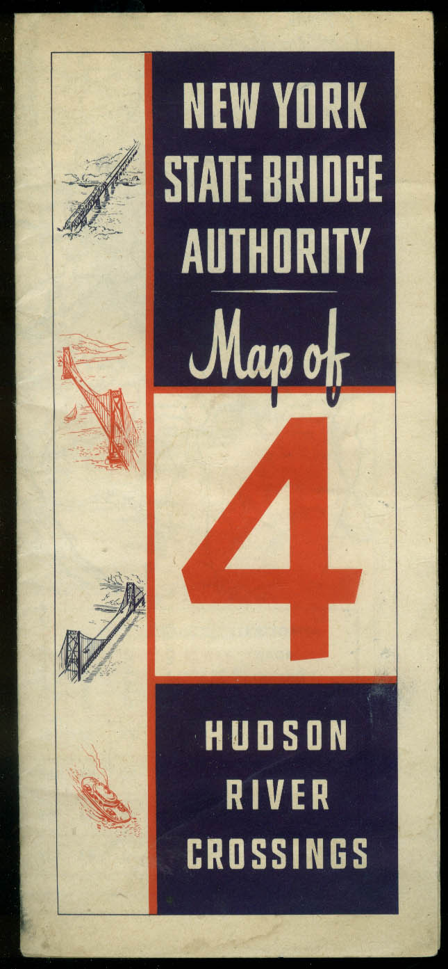 New York State Bridge Authority Hudson River Crossings Map ca 1947