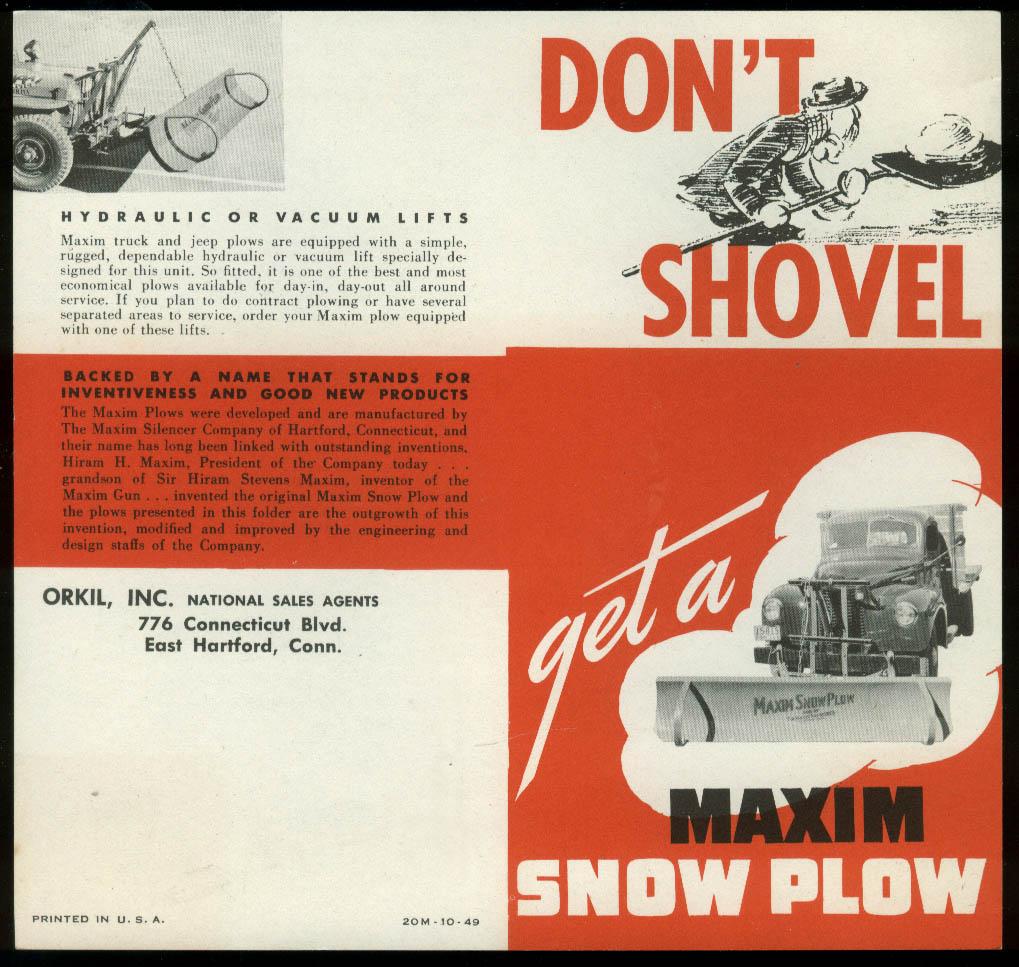 Don't Shovel Get a Maxim Snow Plow sales folder 1949 Hartford CT