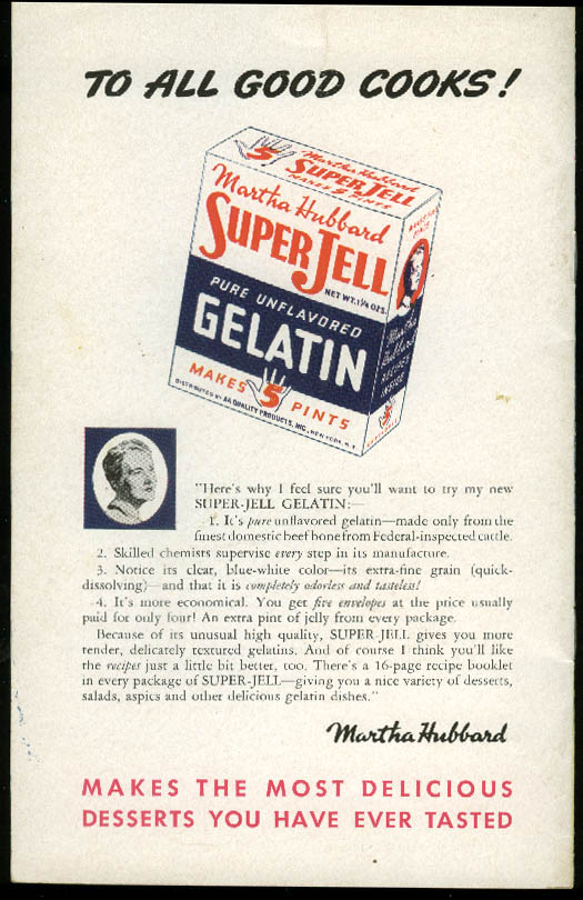 Martha Hubbard Super Jell Toll House Recipe Booklet 1940s