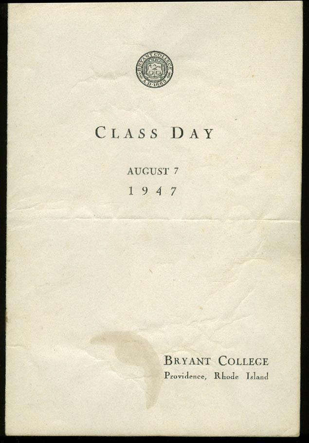Bryant College of Business Administration Commencement Program 1947