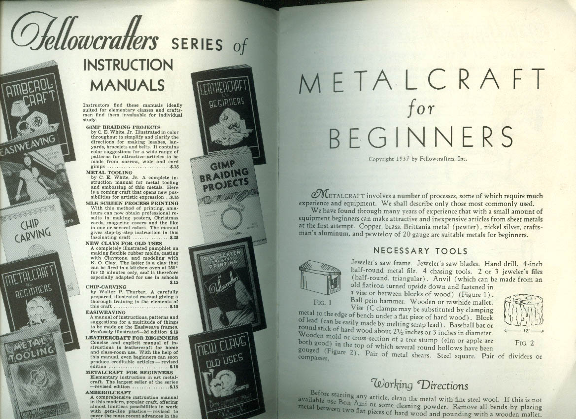 Fellowcrafters Metalcraft for Beginners booklet 1937