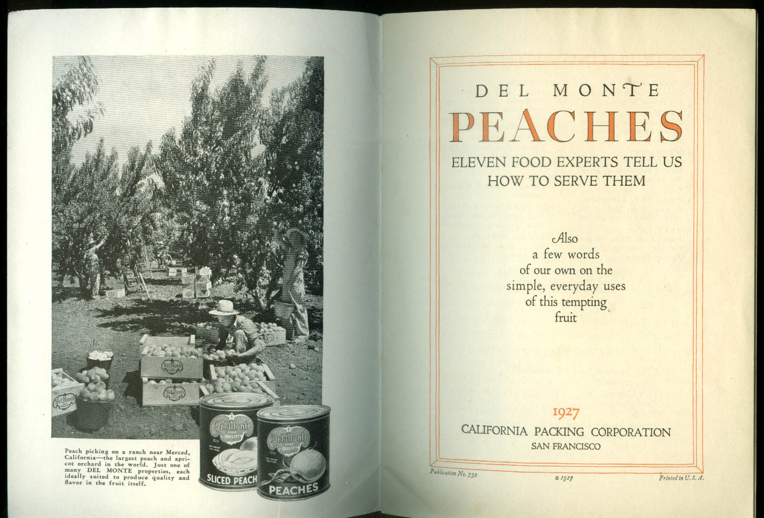 Del Monte Peaches: 11 Food Experts Tell How to Serve Them recipe booklet 1927