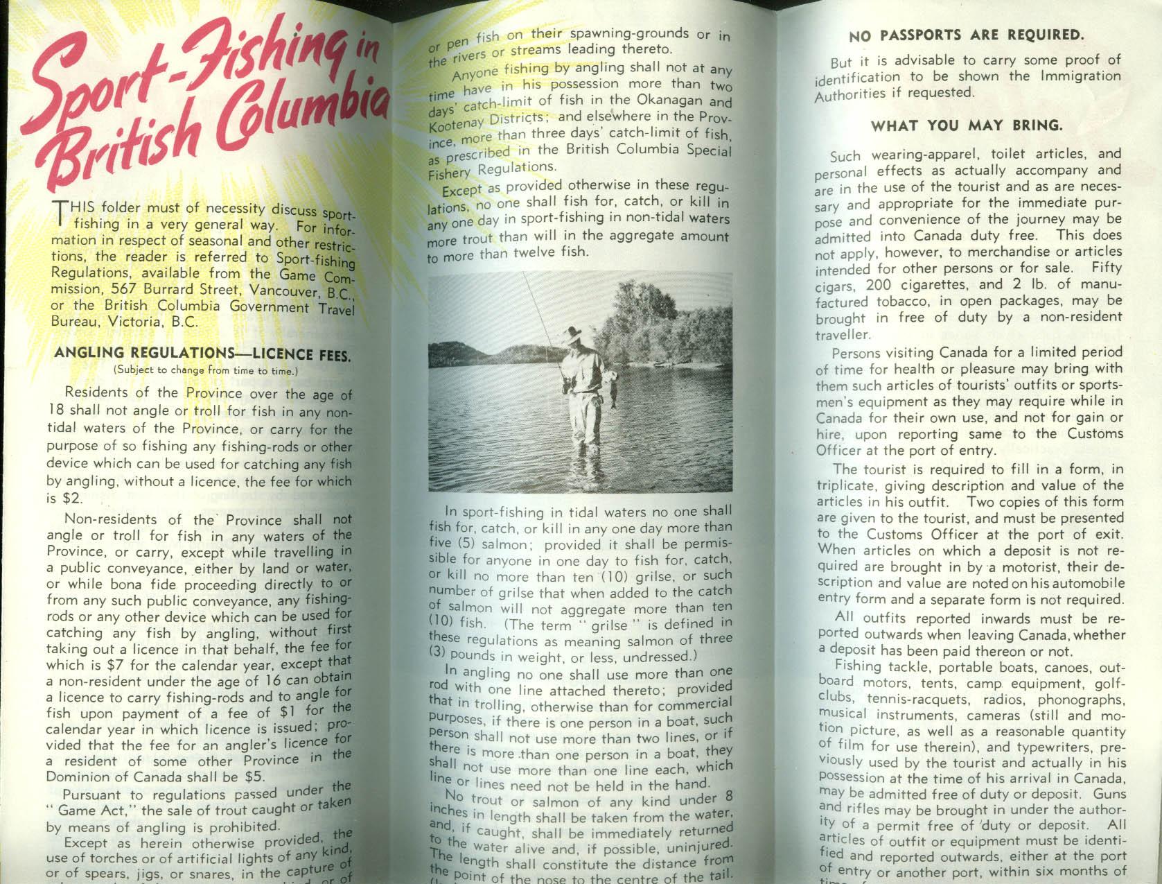 Sport Fishing in British Columbia folder 1952 salmon trout bass